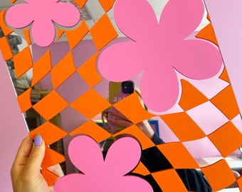 Checkerboard Flower Mirror - Orange & Pink