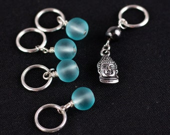Frosted Stitch Markers with Charm for End of Round Marker; Can support needles US 1 - US 10.5