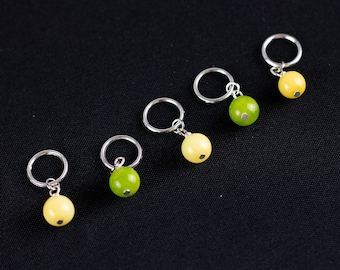 Yellow and Green Glass Bead Stitch Markers for Knitting; Can support needles from US 1 - US 10.5