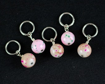 Pink and Brown Marbled Glass Bead Stitch Markers for Knitting; For needles from US 1 - US 10.5