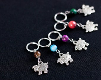 Beaded Sheep Stitch Markers; Can support needles US 1 - US 10.5