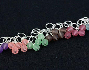 5 Stitch Markers with Frosted Beads; Use for knitting needle sizes US 1 - US 10.5