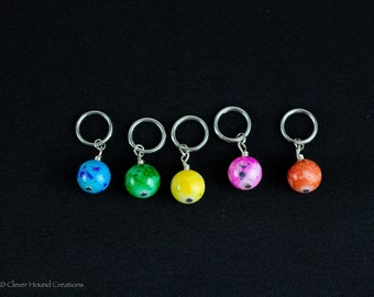 Rainbow Glass Bead Stitch Markers for Knitting; Can support needles from US 1 - US 10.5