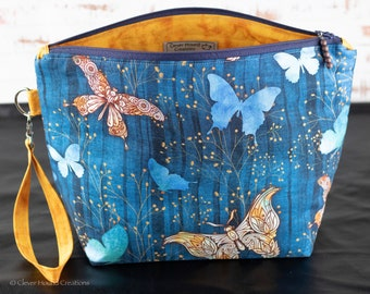 Elegant Butterflies Knitting Project Bag for Mid Sized Projects (2-3 Skeins)