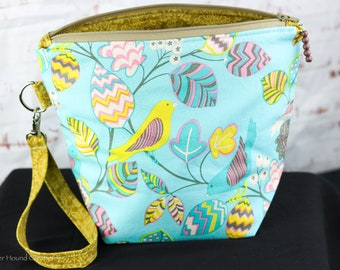 Sock Project Bag   70's Vibes Project Bag for Small Projects   Yellow Birds Zippered Project Bag  Vintage Project Bag