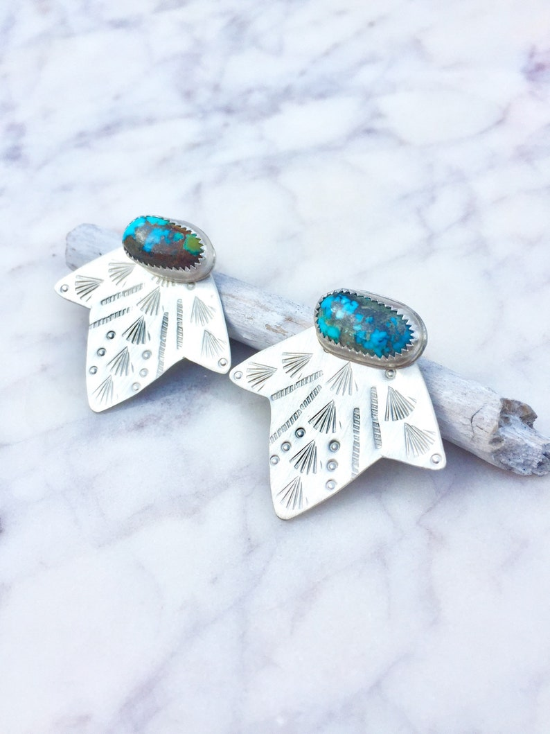 turquoise ear climber turquoise earrings turquoise ear jacket unique ear jacket turquoise studs ear jacket turquoise silver ear jacket