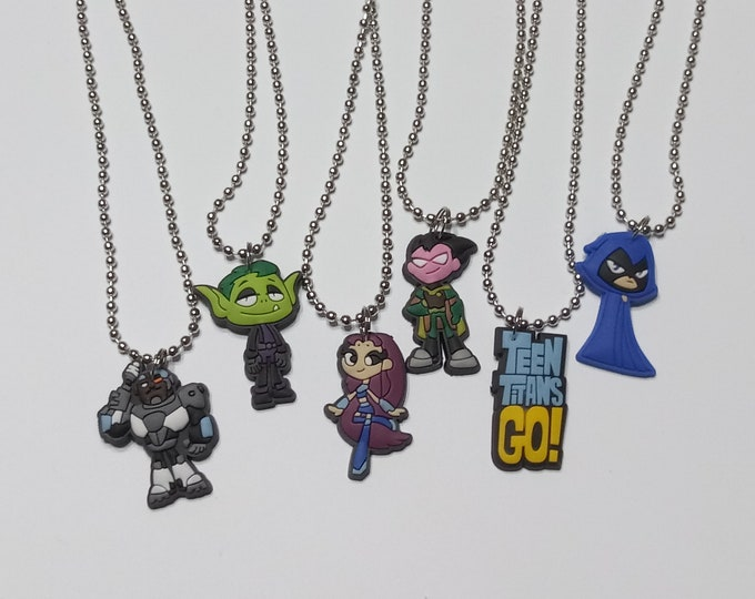 Charm Necklaces Birthday Party Favor Pack Gifts Lot of 6 Teen Titans Go