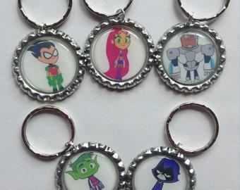 Lot of 5 Teen Titans Go! Key Rings Zipper Pulls Party Favors