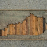 handcrafted state of kentucky on salvaged wood