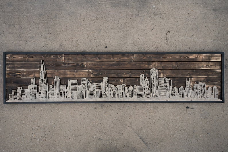 handcrafted chicago skyline on reclaimed wood image 0