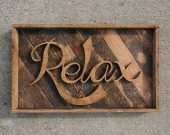 handcrafted recycled relax word art