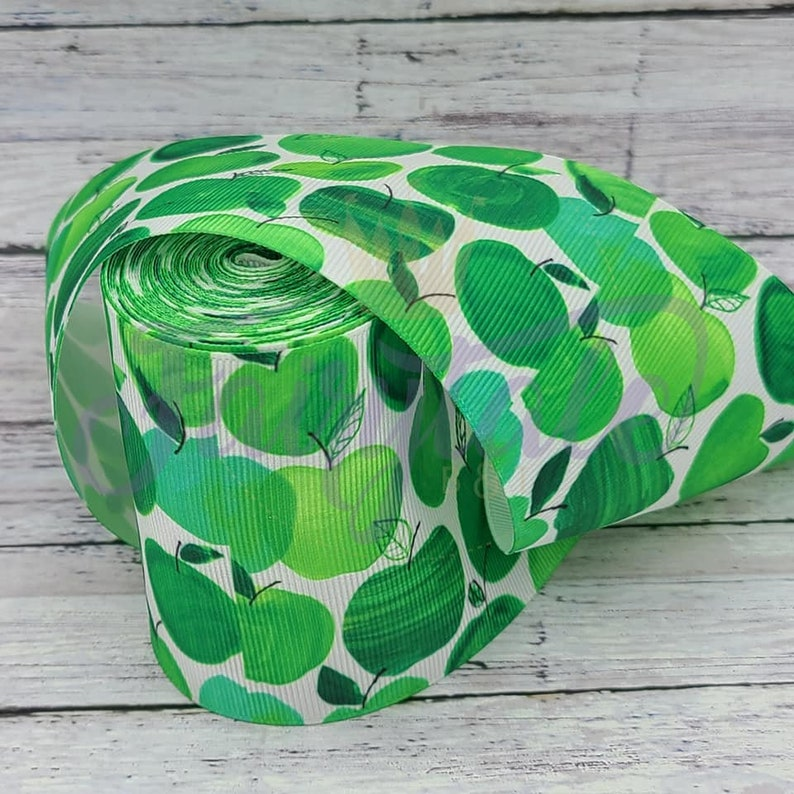 Green Apple grosgrain 3 inch Ribbon