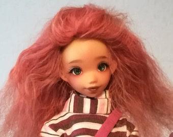 Perruque (wig) mohair taille 5/6 Momonita Pukifee Monster High Lati Yellow