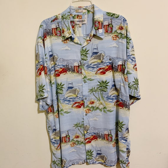 Campia Moda Hawaiian Aloha Shirt Palm Trees Lobste