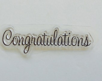 New for Rubber Stamping & Handmade Cards 1 Clear Acrylic Stamp Congratulations