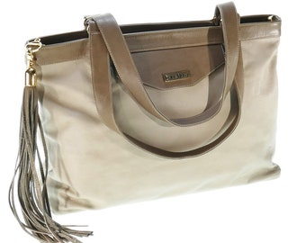 740884443a50 Soft Taupe Leather Tote