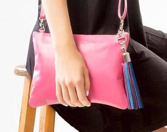 Pink Mini Crossbody Bag, Mini Shoulder Bag, Pink Leather Shoulder Bag, Leather Clutch with 2-Color Leather Tassel, Leather Belt Bag