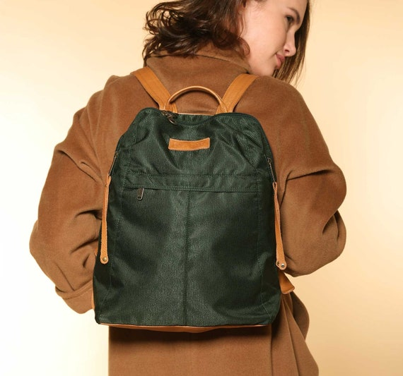 0f7556bb5b Green Nylon Backpack Camel Leather Green Backpack Women