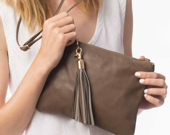 Soft Leather Mini Crossbody Bag, Taupe Leather Mini Shoulder Bag, Leather Clutch, Leather Tassel, Small Leather Bag, Leather Pouch, Belt Bag