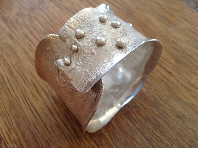 Sterling silver cuff bracelet reticulation bracelet large image 0