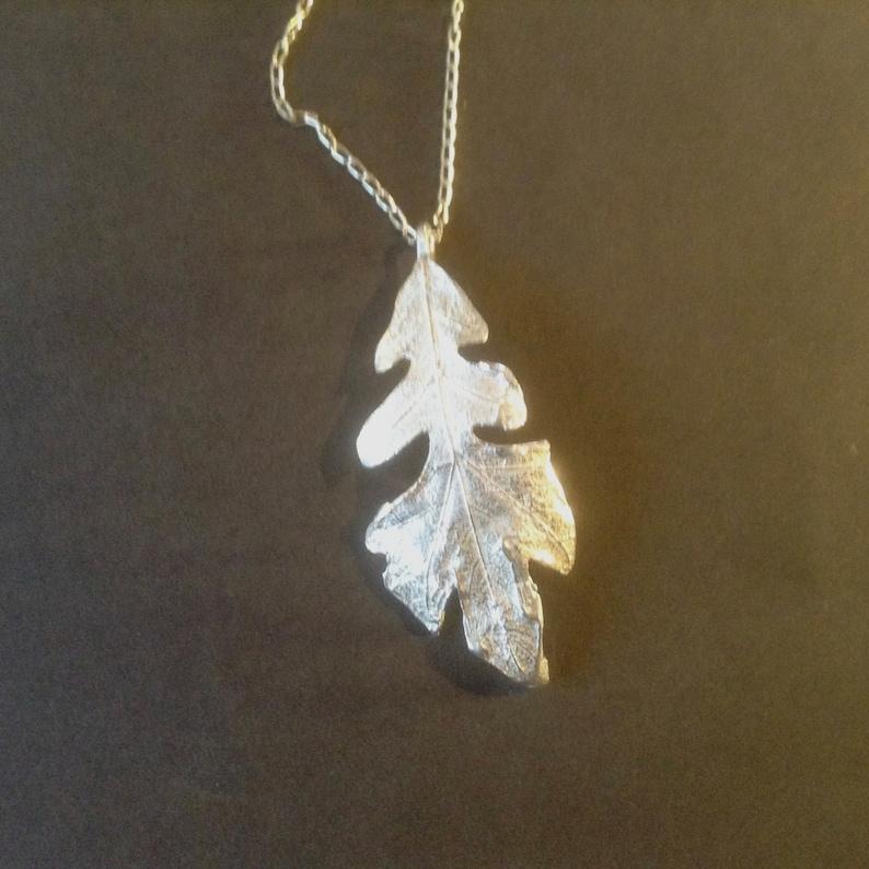 Sterling Silver Oak Leaf Necklace Pendant oak leaf pendant image 0