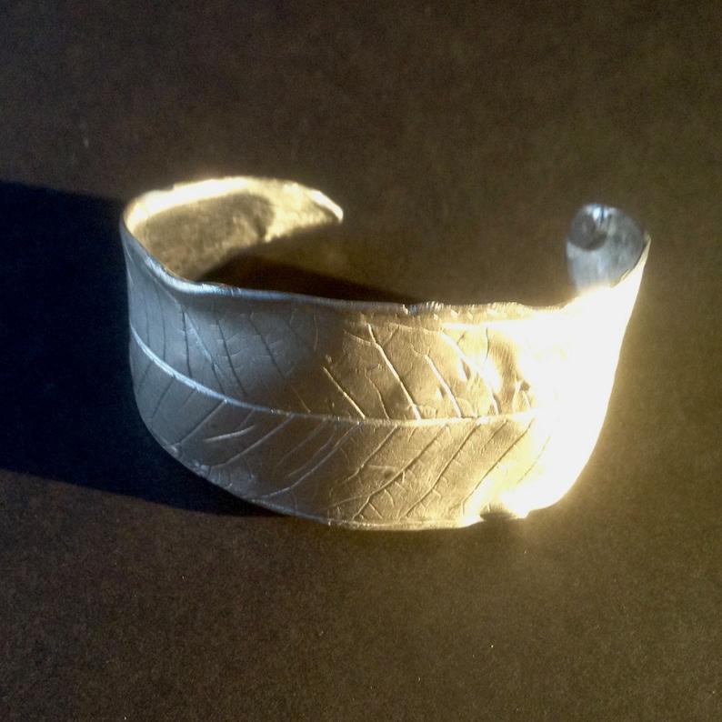 Sterling Silver Leaf Cuff Braceletleaf bracelet silver image 0