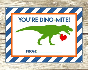 French Valentines Day Card Vous \u00eates un Dino-mite Valentin 5\u201dx7\u201d