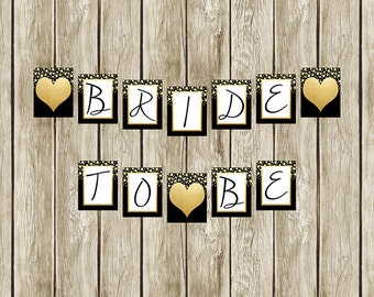 Instant Download Black White And Gold Bridal Shower Banner Etsy