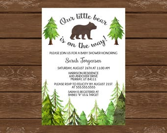 Woodland forest baby shower invitation baby boy girl gender etsy little bear baby shower invitation printable baby shower invite forest baby shower little bear custom invitation 022 filmwisefo