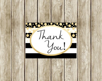 Instant Download Black White and Gold Thank You Card, Thank You Card, Printable Thank You Card, Faux Gold, Digital Thank You Card, 003, 014