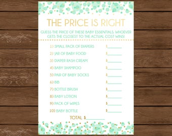 The Price is Right, Printable Baby Shower Game, Instant Download, Mint and Gold, Gender Neutral Baby Shower. Baby Shower Games, 019