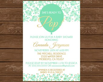 She's About to Pop! Mint and Gold Baby Shower Invitation, Printable Baby Shower Invitation, Mint and Gold, Gender Neutral Baby Shower, 019