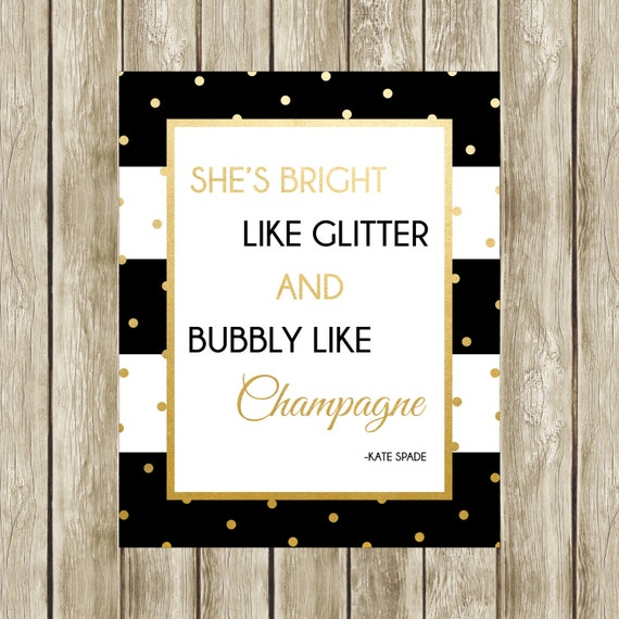 She's Bright Like Glitter Kate Spade Quote Kate Spade Etsy Classy Kate Spade Quotes