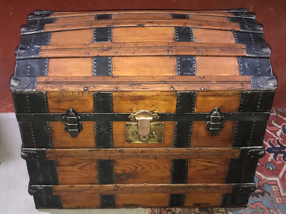 Antique Refinished Trunk, Ca. 1870-80s Trunk - Super Storage, Vintage Flare - Dome top, Heavy Trunk