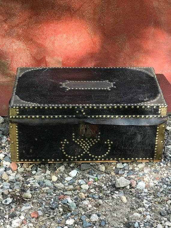 Antique Original Condition Small Leather Covered Civil War Era Trunk Ca. 1860's