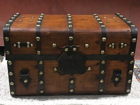 Antique Refinished Civil War Era Trunk, fabric lined, coffee table, vintage storage, Ca. 1860's, Southwestern Decor