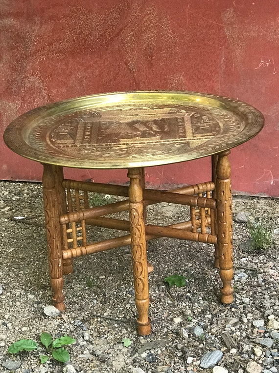 Moroccan , Egyptian, 23.75 inch Brass Top Folding Tea Table, Beverage Stand, MCM decor, 1970's furniture, boho chic