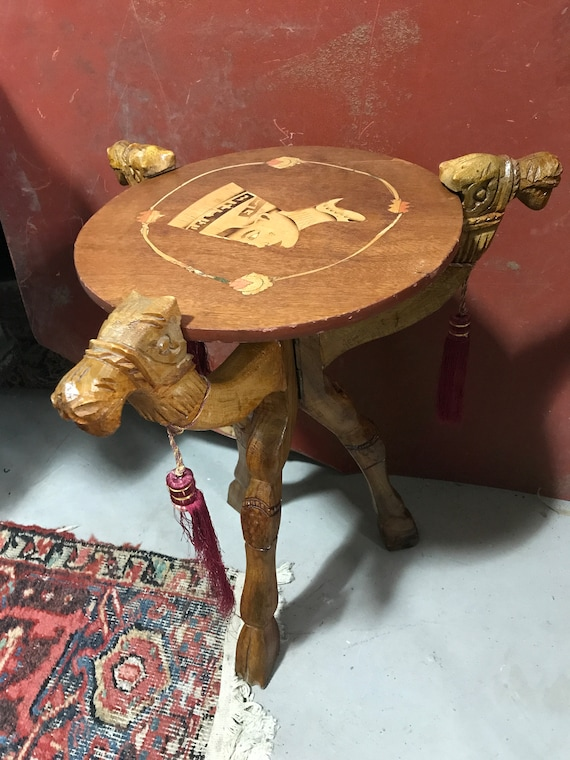 Trifold Camel Table, Plant Stand, MCM decor, 1970's table, African Art