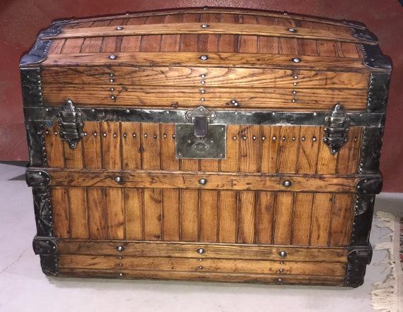 Antique Refinished Trunk, Rare Oak Slat Trunk, Pirate Chest, Wood Chest