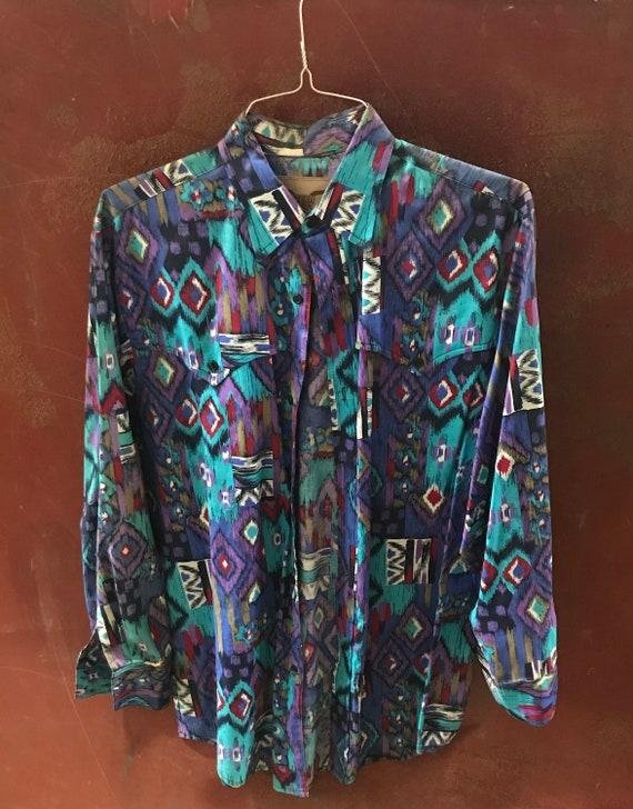 Vintage Cowboy Shirt, line dancing shirt, geometric, southwestern style, size Extra Large