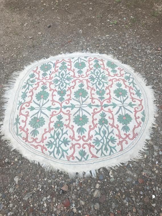 Gray Green Floral Kashmir Namba Rug, 1960's, 1970's rug, living room throw rug, den rug, bathroom area rug
