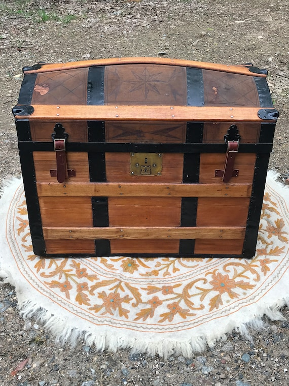 Antique Ca. 1860's Dome Top Wood and Leather Trunk, Super Storage, Bedroom storage, vintage flare, Victorian Style, Pirate Chest