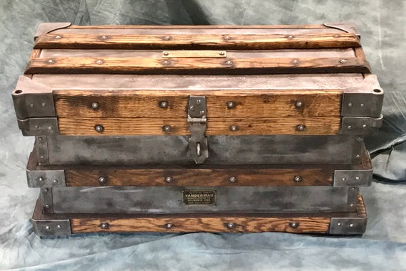 Antique Tool Chest, Conversation Piece, Coffee Table, unique storage, Railroad Trunk, new to Etsy Shop, Strong Box, Pirate Chest, Vanderman