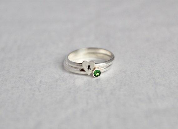 Anfängliche Herz Ring Sterling Silber & Swarovski Crystal | Etsy