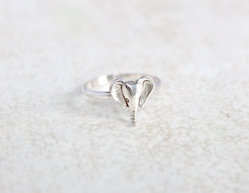 Everyday wear ring. Elephant Sterling Silver Ring Stacking rings