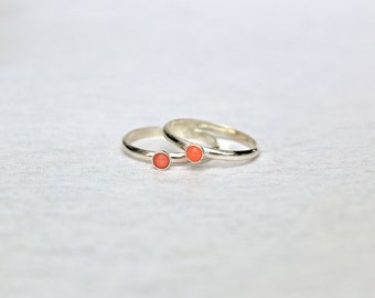 Coral Ring.  Sterling Silver ring with Coral stone.  Stacking rings.  Everyday wear silver ring.  Beach Jewelry