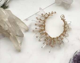 Minimal Quartz Crystal Hair Wreath