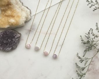 Minimal Amethyst & Rose Quartz Necklace on gold plated chain