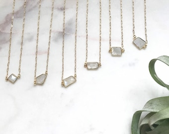 Faceted Moonstone necklace on gold plated chain