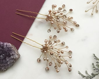 Rose Colored Hair Pins Set of 2